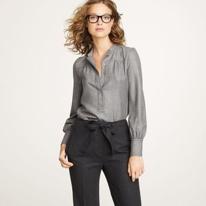 J. Crew Collection Cashmere Twill Popover Blouse